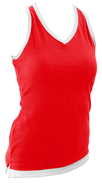 Pizzazz Layered Look Top with Crisscross Back - Red White