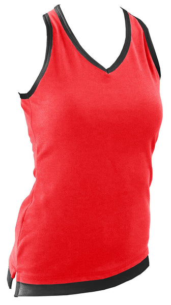 Pizzazz Layered Look Top with Crisscross Back - Red Black