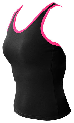 Pizzazz MVP Racer Back Top with Trim - Black Hot Pink Trim