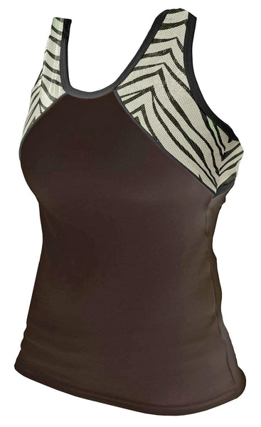 Pizzazz Tri-Color Zebra Glitter Top with X-Back - Black Zebra
