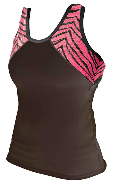 Pizzazz Tri-Color Zebra Glitter Top with X-Back - Black Hot Pink Zebra