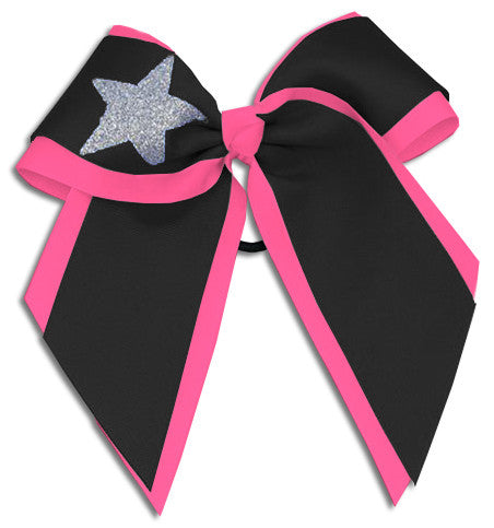 Pizzazz XL Double Layer with Star Bow - Black Hot Pink