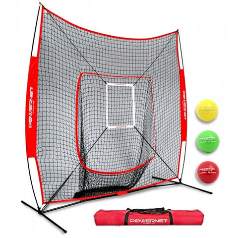PowerNet DLX 2.0 Baseball Softball Hitting Net System with 3 Progressive Weighted Balls - Black