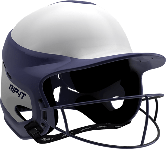 Rip-It Softball Vision Pro Helmet Home - White Navy - HIT A Double