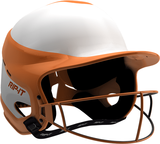 Rip-It Softball Vision Pro Helmet Home - White Orange - HIT A Double