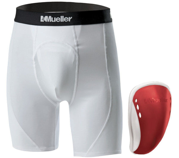 Mueller Teen Athletic Support Brief with Flex Shield Cup - Red - HIT A Double
