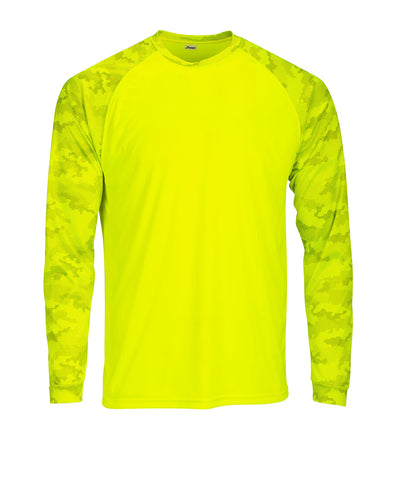 Paragon 216 Adult Cayman Long Sleeve Raglan Tee - Safety Green