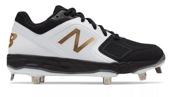 New Balance SMVELOv1 Fastpitch Metal Cleat Low-Cut - White Black