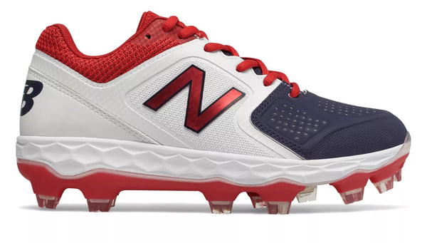 New Balance SPVELOv1 Fastpitch TPU Molded Cleat Low-Cut - White Navy Red
