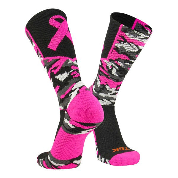 Twin City Woodland Aware Breast Cancer Ribbon Crew Socks - Black hot Pink - Fanwear, Basketball, Lacross/Field Hockey, Football, Volleyball Accessories, Wrestling - Hit A Double - 1