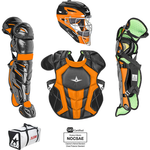 All-Star System 7 Certified NOCSAE Young Pro Catcher's Set (Ages 12-16) - Black Orange - HIT A Double
