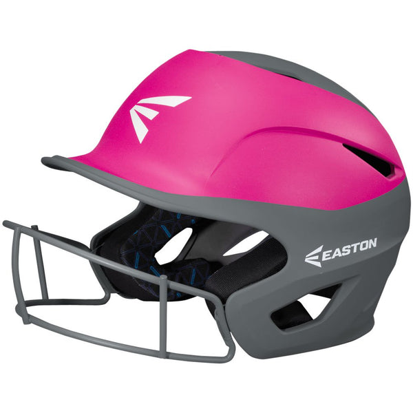Easton Prowess Fastpitch Helmet Two Tone with Mask - Charcoal Pink - Baseball Helmets - Hit A Double