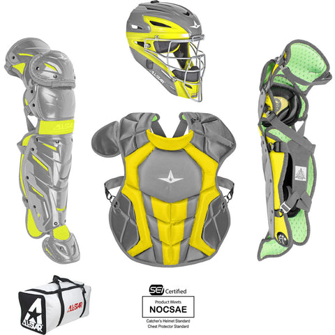 All-Star System 7 Certified NOCSAE Young Pro Catcher's Set (Ages 12-16) - Dark Gray Gold