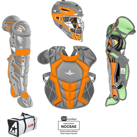 All-Star System 7 Certified NOCSAE Young Pro Catcher's Set (Ages 12-16) - Dark Gray Orange - HIT A Double
