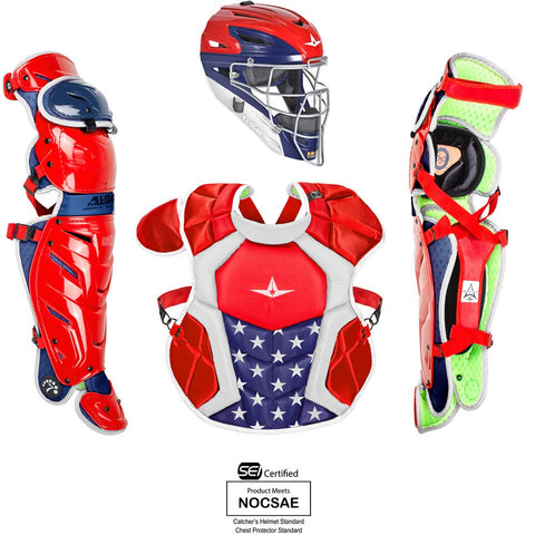 All-Star System 7 Certified NOCSAE Young USA Pro Catcher's Set (Ages 12-16) - Scarlet White Navy - HIT A Double