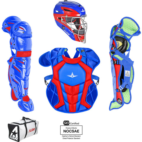 All-Star System 7 Certified NOCSAE Young Pro Catcher's Set (Ages 9-12) - Royal Scarlet - HIT A Double