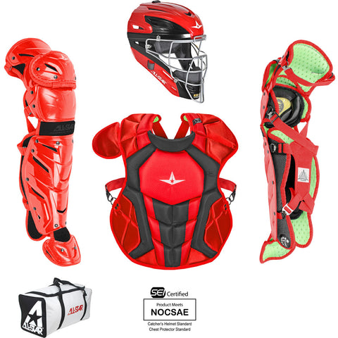 All-Star System 7 Certified NOCSAE Young Pro Catcher's Set (Ages 9-12) - Scarlet Black - HIT A Double
