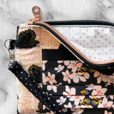 SPECIAL EDITION Black Swan Collection (Blush/Metallic) Zip & Pleat Carry-All Wristlet