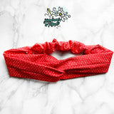 """Tiny Hearts in Red"" Twisted Headband"