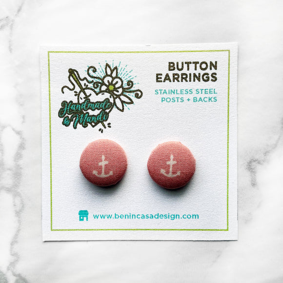 READY TO SHIP: Tiny Anchor (Blush Pink) Button Earrings
