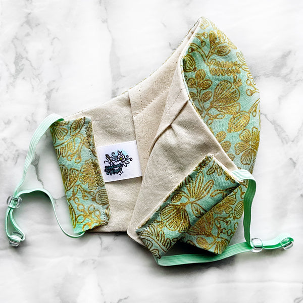 "SPECIAL EDITION Rifle Paper Co. Primavera ""Mint Moxie Floral"" (Metallic) Deluxe Olson Face Mask"