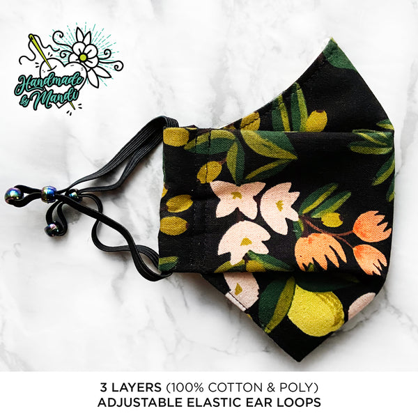"LIMITED EDITION Rifle Paper Co. Primavera ""Citrus Blossoms"" (Black/Canvas) 3D Pleated Face Mask"