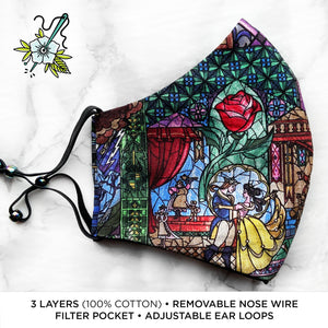 "SPECIAL EDITION Beauty & the Beast ""Stained Glass"" Deluxe Olson Face Mask"