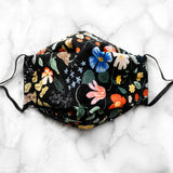 Rifle Paper Co. Strawberry Fields (Black) 3D Pleated Face Mask