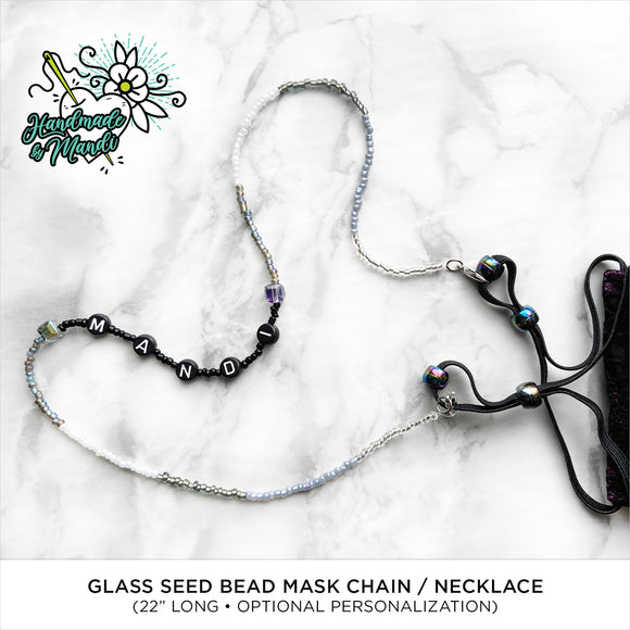 Beaded Mask Chain/Necklace (White/Black/Grey/Iridescent)