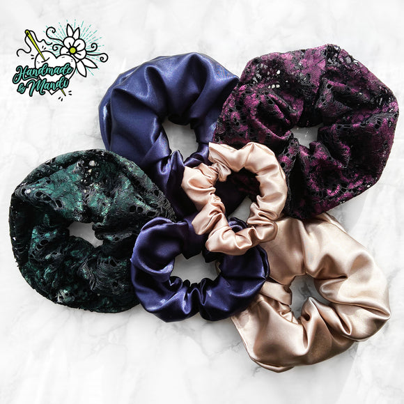Special Occasion FANCY LACE Hair Scrunchie (Large)