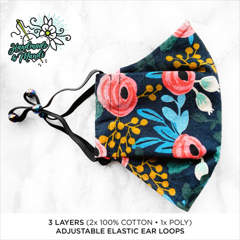"LIMITED EDITION Rifle Paper Co. Les Fleurs ""Rosa"" (Navy/Canvas) 3D Pleated Face Mask"