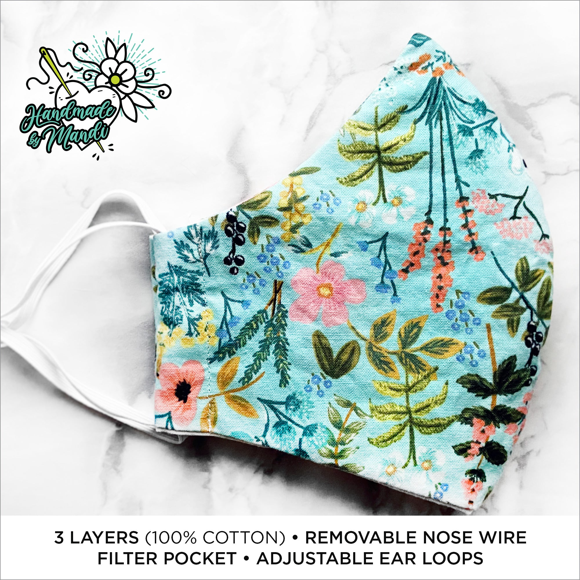 "Rifle Paper Co. Amalfi ""Herb Garden"" (Mint) Deluxe Olson Face Mask"