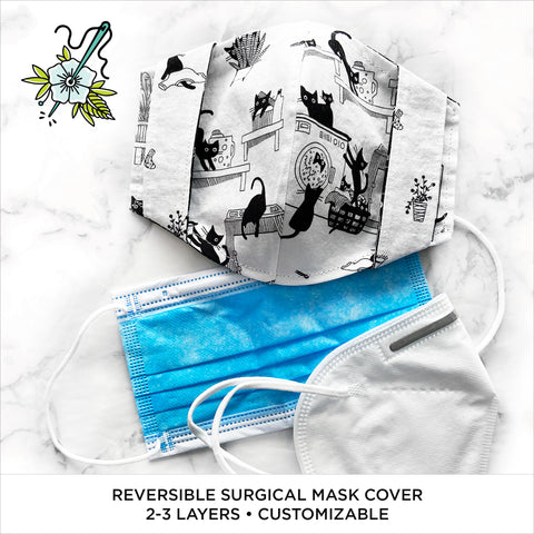 """Les Chats Noir"" Reversible Surgical Mask Cover/Lining"