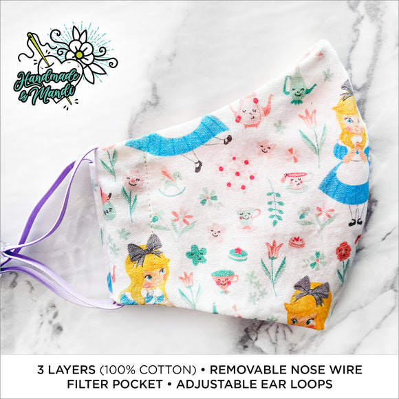 CHILDREN'S SIZES: Alice in Wonderland Deluxe Contoured Face Mask