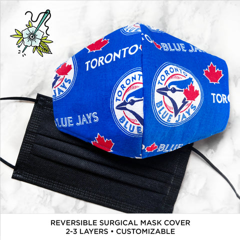 LIMITED EDITION Toronto Blue Jays Reversible Surgical Mask Cover/Lining