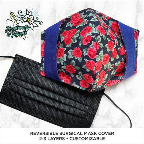 """Winter Roses"" Reversible Surgical Mask Cover/Lining"