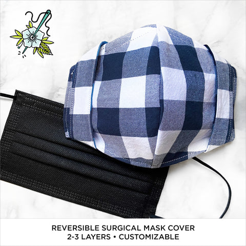 Classic Gingham (Navy/Indigo Combo) Reversible Surgical Mask Cover/Lining