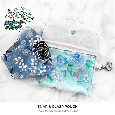 """Enchanted Watercolour Roses"" (Mint/Metallic) Snap & Clasp Pouch"