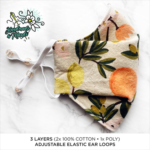 "LIMITED EDITION Rifle Paper Co. Primavera ""Citrus Blossoms"" (Natural/Canvas) 3D Pleated Face Mask"