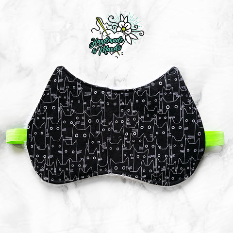 """Les Chats Noir"" (Black) Oversized Polar Fleece Sleeping Eye Mask"