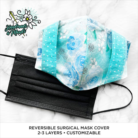 """Enchanted Watercolour Roses"" (Mint/Metallic) Reversible Surgical Mask Cover/Lining"