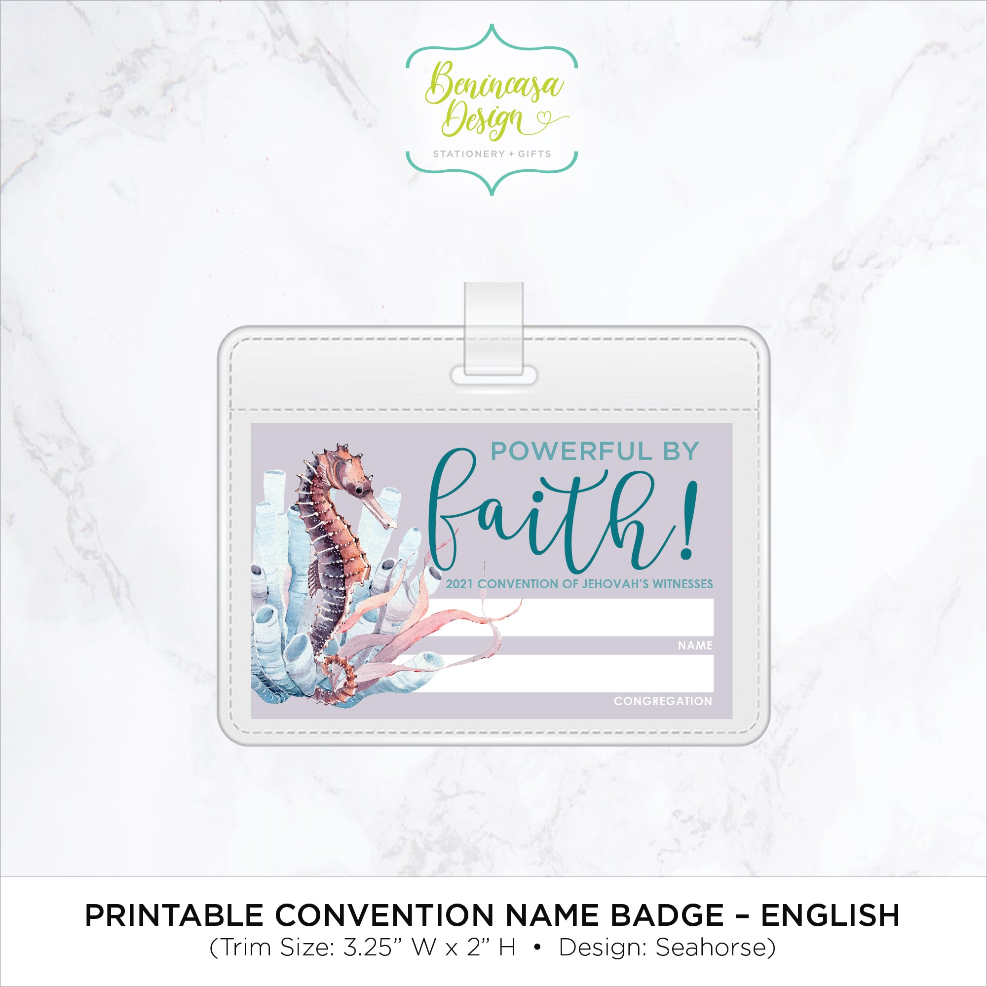 "DIGITAL DOWNLOAD: ""Powerful by Faith"" 2021 Convention Printable Name Badges - Seahorse"