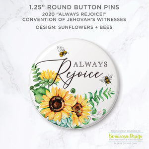 "BUY ONE GET ONE FREE: Button Pins 2020 ""Always Rejoice"" Convention of Jehovah's Witnesses"