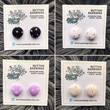 Polka Dot Button Earrings (Multiple Colours)