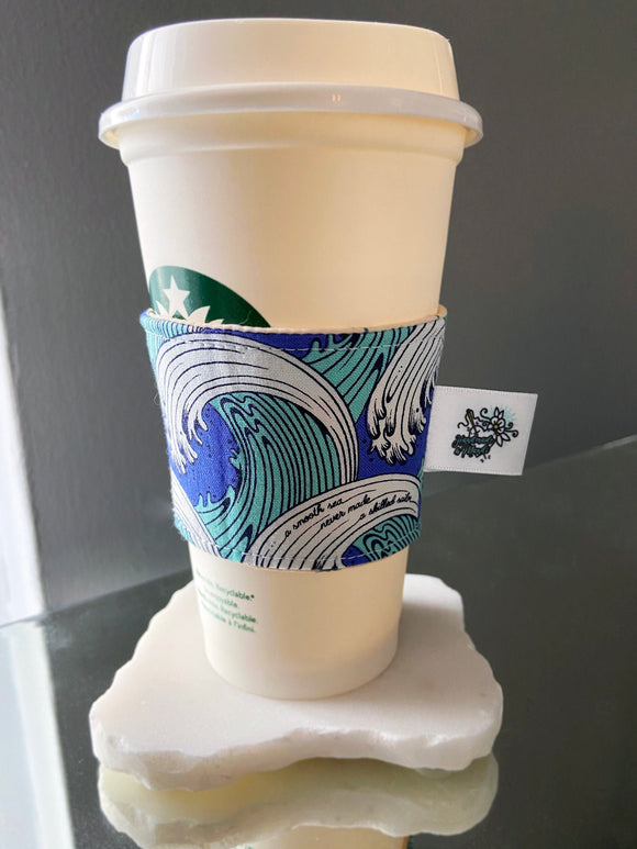 Reversible Insulated Hot Cup Sleeve (Ocean Waves/Anchors)