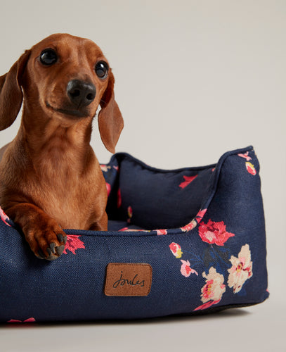 Navy floral box bed from Joules - reversible cushion - thick padding - Best British Design