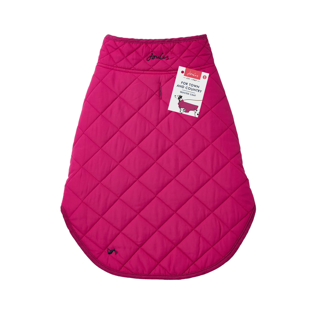 Joules Quilted Dog Coat in Raspberry