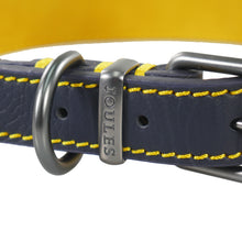 Load image into Gallery viewer, Joules Navy & Yellow Leather Collar