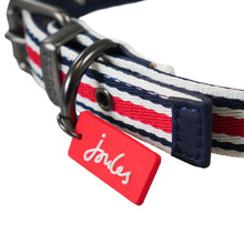 Load image into Gallery viewer, This red, blue and white striped nylon collar comes in 4 sizes, it has a matching lead (listed separately) and nice Joules detailing.