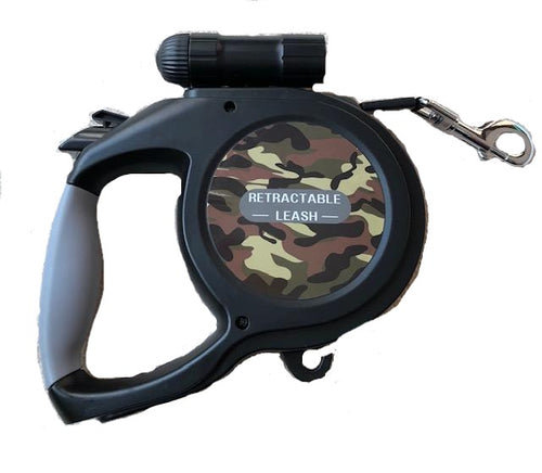 8 meter Extending lead, extending leash, with torch, camouflage,